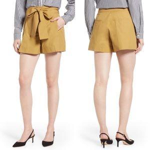 J. Crew Cotton Poplin Tie Waist Shorts Honey Brown